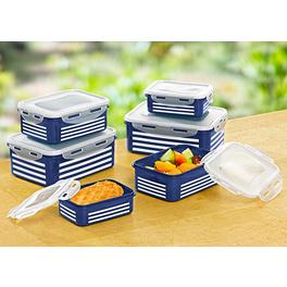12pièces Boîtes fraicheur, bleu-blanc