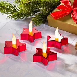 2 bougies chauffe-plats à LED, étoile rouge
