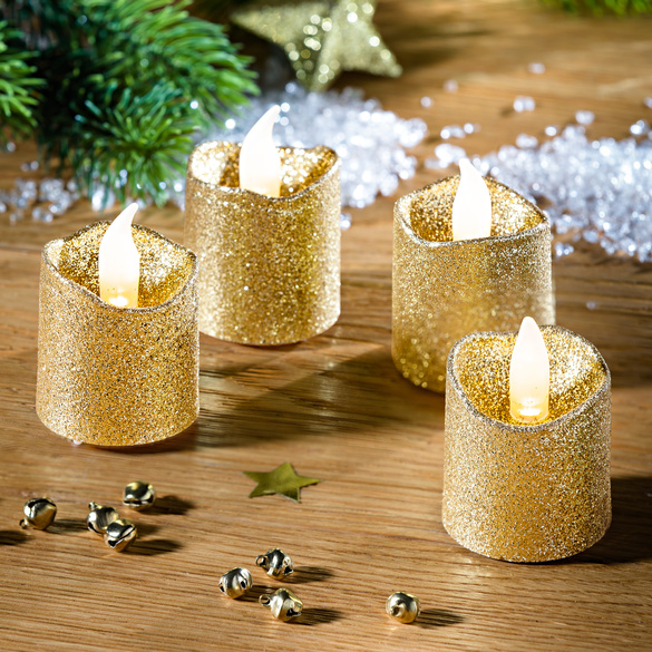4 bougies à brillance dorée