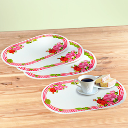 4 sets de table, Roses