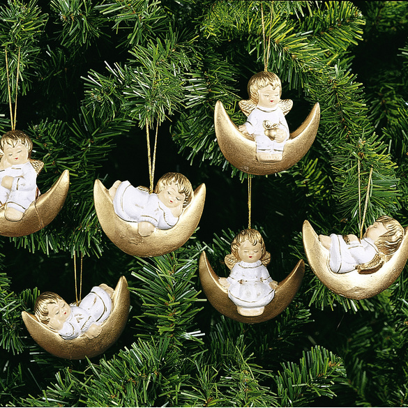 6 décorations ange sur lune