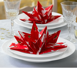 8 serviettes pliées « Étoile de Noël »