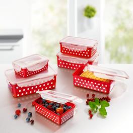 Boîtes fraîcheur rouge-blanc, 12pièces