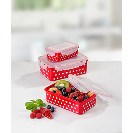 Boîtes fraîcheur rouge-blanc, 6pièces