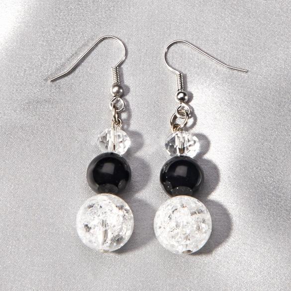 Boucles d'oreilles onyx/cristal de roche