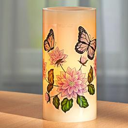 Bougie LED Fleurs & papillons