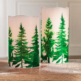 Bougie à LED Forêt hivernale 12,5 cm
