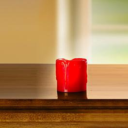 Bougie LED. Ht. 5cm, rouge