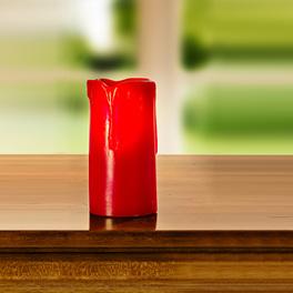 Bougie LED. Ht. 7,5cm, rouge
