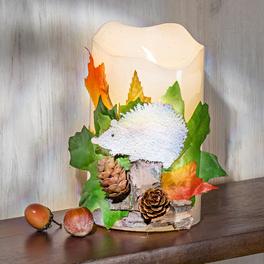 Bougie à LED avec décor hérisson