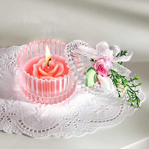 Bougie rose dans un verre vitrine magique for Verre pour fenetre