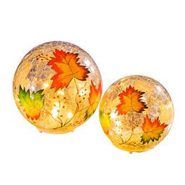 Boules en verre 10 cm Feuilles