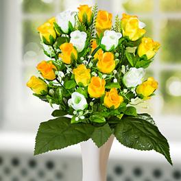 Bouquet de roses, jaune/blanc