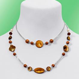 Collier deux rangs, couleur ambre