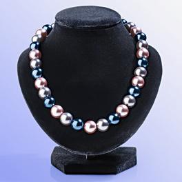Collier en perles de verre, gris/violet