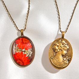 Collier vintage Fleurs, rouge