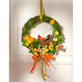 Couronne de fleurs avec coq