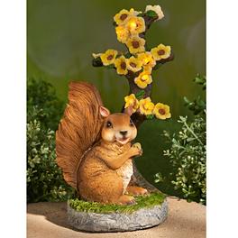 Déco solaire Écureuil et fleurs