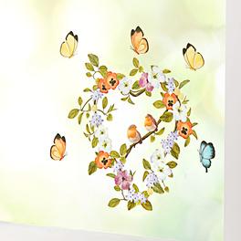 Décoration de fenêtre Cœur et oiseaux avec papillons