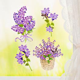 Décoration de fenêtre fleurs, mauves