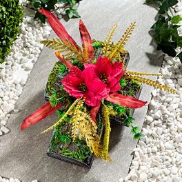 Décoration de pierre tombale Croix et fleurs