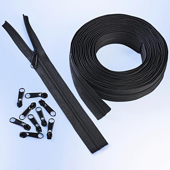 Fermeture à glissière 6 m + 25 curseurs, noir