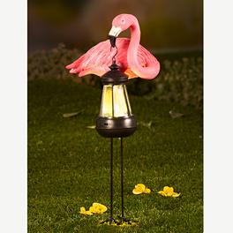 Flamant rose avec lanterne solaire