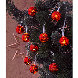 Guirlande LED 10pièces Boules, rouge