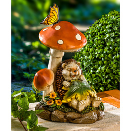 Hérisson solaire avec champignon