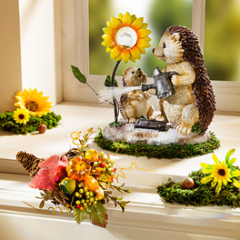 Hérissons avec fleur solaire
