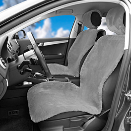 Housse de siège de voiture en peluche, gris