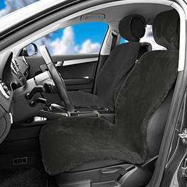 Housse de siège de voiture en peluche, noir