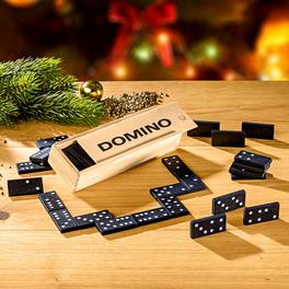 Jeu de domino dans boîte en bois
