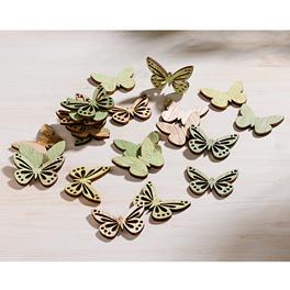 Lot de 12 papillons en bois