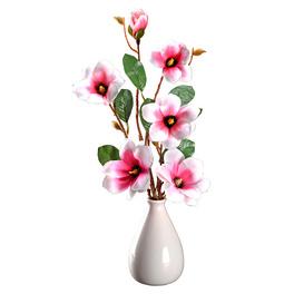 Lot de 2 branches de magnolia, blanc