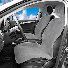Lot de 2housses de siège de voiture en peluche, gris