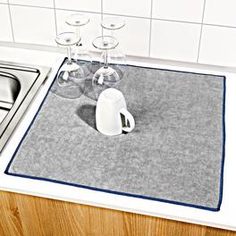 Lot de 2 tapis à égoutter bleu+gris