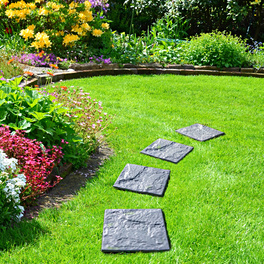 Lot de 4 dalles pour jardin, gris