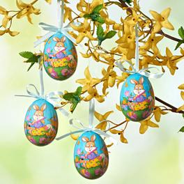 Lot de 4 œufs Lapin, bleu