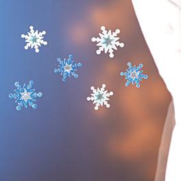 Lot de 6flocons de neige, argenté-bleu clair