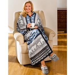 Plaid/robe de chambre, gris-bleu