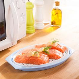 Plat de cuisson pour micro-ondes avec couvercle