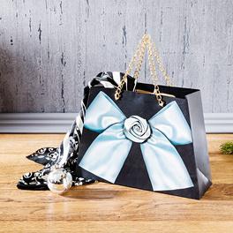 Pochette cadeau, noir/argent