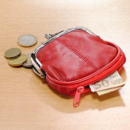 Porte-monnaie en cuir, rouge