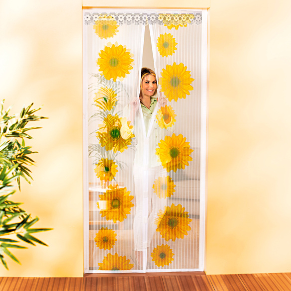 rideau anti insectes avec aimant tournesols vitrine magique. Black Bedroom Furniture Sets. Home Design Ideas