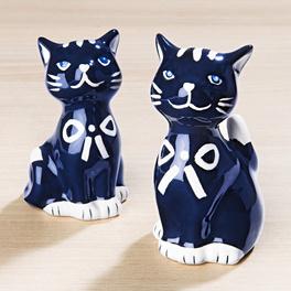 Salière et poivrière chat bleu