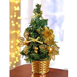 Sapin avec décorations de coloris or