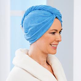 Serviette-turban à cheveux, bleu uni