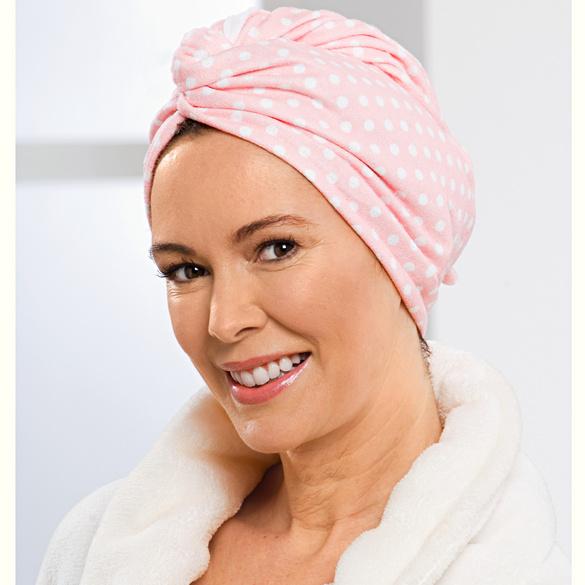 Serviette-turban à cheveux, rose à pois