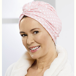 Serviette-turban à cheveux, rose à pois